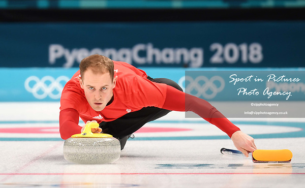 Kyle Smith (GBR). Mens Curling training. Pyeongchang2018 winter Olympics Gangneung curling centre. Gangneung. Republic of Korea. 12/02/2018. ~ MANDATORY CREDIT Garry Bowden/SIPPA - NO UNAUTHORISED USE - +44 7837 394578