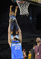 Jordan Ngatai helps his son Jordan shoot a basket after the Australian National Basketball League match between Skycity Breakers and Illawarra Hawks at TSB Bank Arena in Wellington, New Zealand on Thursday, 14 February 2019. Photo: Dave Lintott / lintottphoto.co.nz