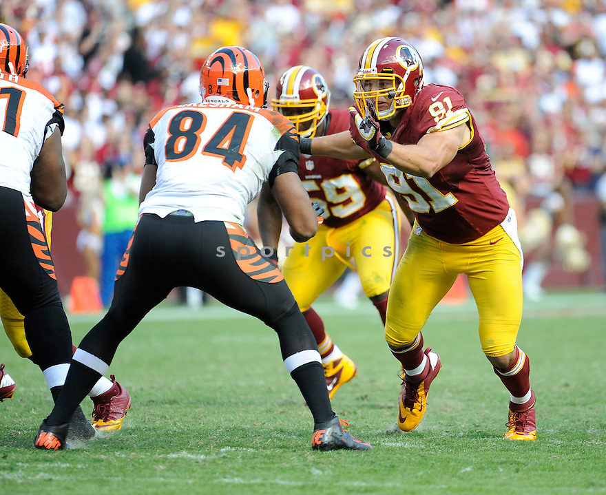 Washington Redskins Ryan Kerrigan (91) in action during a game against the Cincinnati Bengals on September 23, 2012 at FedExField in Washington DC. The Bengals beat the Redskins 38-31.