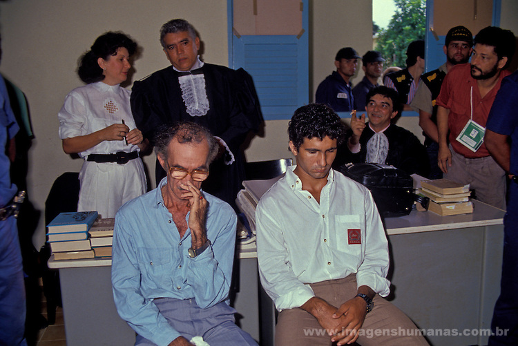 Chico Mendes murderers trial at Xapuri city Forum, Acre State, Brazil, in 1990. Darci Alves, at right, and his father Darli Alves.