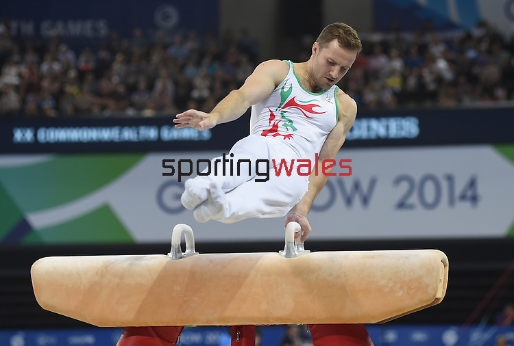 Wales' Clinton Purnell competes in the pommel horse<br /> <br /> Gymnastics artistic - Team final & Individual Qualification <br /> <br /> Photographer Chris Vaughan/Sportingwales<br /> <br /> 20th Commonwealth Games - Day 5 - Monday 28th July 2014 - Gymnastics artistic - The SSE Hydro - Glasgow - UK