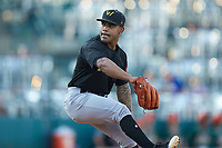 West Virginia Power relief pitcher Elvis Escobar (44) in action against the Greensboro Grasshoppers at First National Bank Field on August 9, 2018 in Greensboro, North Carolina. The Power defeated the Grasshoppers 5-3 in game one of a double-header. (Brian Westerholt/Four Seam Images)