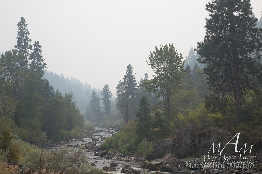 Smoke fills the air in the Idaho mountains due to the wildfires in Washington, Oregon, and Idaho