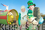 Goat's don't shave: Pat Daly, Mary O'Keeffe and Rascal the goat with the Wanderly Wagon float at the Abbeyfeale St Patrick's Day parade on Tuesday.
