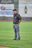 Base umpire Rene Gallegos handles the calls in the field during the game between the Ogden Raptors and the Billings Mustangs at Lindquist Field on August 17, 2018 in Ogden, Utah. Billings defeated Ogden 6-3. (Stephen Smith/Four Seam Images)