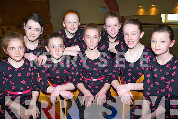 FIGURE; The Causeway figure dancers ready to take part in the Lee Strand  Scór Na bPaistí 2014 in Tinteán Theatre, Ballybunion on Sunday l-r: Sarah kennelly, Leanne Barrett, Ciara Casey, Molly Dineen, Lauren Costello, Molly Murphy,katelya Diggins and Aoife Barrett.