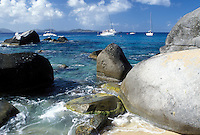BVI, The Baths, Virgin Gorda, British Virgin Islands, Caribbean, Scenic view of the rocky coastline of Devils Bay Nat'l Park at The Baths on Virgin Gorda on the Caribbean Sea.