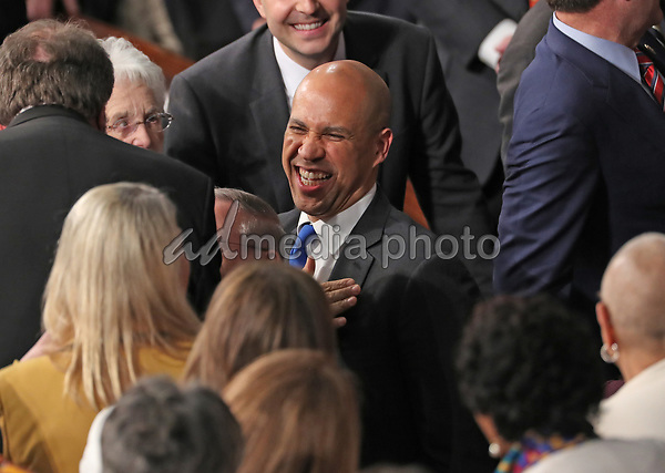 United States Senator Cory Booker (Democrat of New Jersey) prior to US President Donald J. Trump delivering his second annual State of the Union Address to a joint session of the US Congress in the US Capitol in Washington, DC on Tuesday, February 5, 2019. Photo Credit: Alex Edelman/CNP/AdMedia