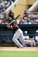 Miami Marlins infielder Donovan Solano (17) during a Spring Training game against the Detroit Tigers on March 25, 2015 at Joker Marchant Stadium in Lakeland, Florida.  Detroit defeated Miami 8-4.  (Mike Janes/Four Seam Images)