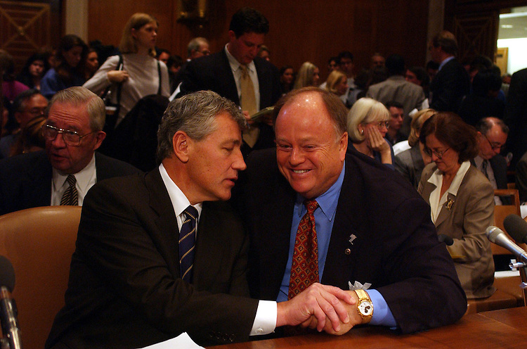 11bio100901 -- Sens. Chuck Hagel, R-Neb., left, and Sen. Max Cleland, D-Ga., at a Senate Health, Education, Labor and Pensions Committee, Public Health Subcommittee hearing on bioterrorism..