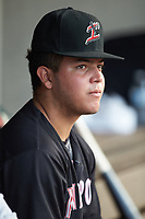 Carlos Perez (8) of the Kannapolis Intimidators during the game against the Hickory Crawdads at L.P. Frans Stadium on July 20, 2018 in Hickory, North Carolina. The Crawdads defeated the Intimidators 4-1. (Brian Westerholt/Four Seam Images)