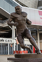 Memorial sculpture of running back Jim Brown at FirstEnergy Stadium, Cleveland, Ohio, USA.