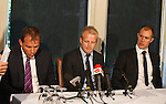 Lawyer Simon Catto with Steven Naismith and Steven Whittaker as the Rangers players announce their intention not to transfer their contracts over to Charles Green's Sevco 5088 Rangers