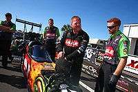 Mar 19, 2017; Gainesville , FL, USA; NHRA top fuel driver Terry McMillen and crew during the Gatornationals at Gainesville Raceway. Mandatory Credit: Mark J. Rebilas-USA TODAY Sports