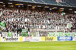 Solna 2015-03-07 Fotboll Allsvenskan AIK - Hammarby IF :  <br /> Hammarbys supportrar med banderoller med texten &quot;Ett ok&auml;rt &aring;terseende p&aring; bem&auml;rkelsedan, Hammarby IF st&ouml;rst i stan&quot; under matchen mellan AIK och Hammarby IF <br /> (Foto: Kenta J&ouml;nsson) Nyckelord:  AIK Gnaget Friends Arena Svenska Cupen Cup Derby Hammarby HIF Bajen supporter fans publik supporters banderoll banderoller budskap
