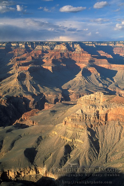 Layered rocks and canyons above the Colorado River, from the South Rim, Grand Canyon National Park, Arizona