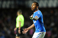 Alfredo Morelos of Rangers gestures to the assistant referee during Rangers vs SC Braga, UEFA Europa League Football at Ibrox Stadium on 20th February 2020