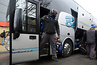 Beno Obano and the rest of the Bath Rugby team arrive at Kingsholm. Anglo-Welsh Cup Final, between Bath Rugby and Exeter Chiefs on March 30, 2018 at Kingsholm Stadium in Gloucester, England. Photo by: Patrick Khachfe / Onside Images