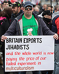 © Joel Goodman - 07973 332324 .  07/02/2015 . Dudley , UK . Supporter with Charlie Hebdo t-shirt . Approximately 500 EDL supporters at an English Defence League demonstration in Dudley , in the West Midlands , this afternoon ( Saturday 7th February 2015 ). They oppose the building of a new mosque in Dudley . Photo credit : Joel Goodman