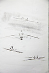 Single scullers, first attempt at drawing, rowing, charcoal on paper, Journal Art 2002,