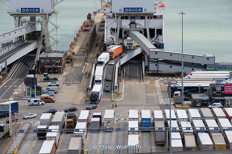 Lorries disembarking from a cross channel ferry at the Eastern Docks, Port of Dover, Kent.