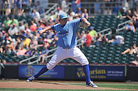 Omaha Storm Chasers Brooks Pounders (29) throws during the Pacific Coast League game against the Nashville Sounds at Werner Park on June 5, 2016 in Omaha, Nebraska.  Omaha won 6-4.  (Dennis Hubbard/Four Seam Images)