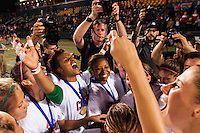 Portland Thorns players including goalkeeper Karina LeBlanc (1) celebrate after the match. The Portland Thorns defeated the Western New York Flash 2-0 during the National Women's Soccer League (NWSL) finals at Sahlen's Stadium in Rochester, NY, on August 31, 2013.