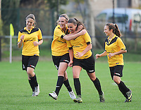 20161029 - ZWEVEZELE , BELGIUM : Zwevezele's players celebrating their opening goal  pictured during a soccer match between the women teams of KSK Zwevezele and Club Brugge  , during the seventh matchday in the 2016-2017  Tweede klasse - Second Division season, Saturday 29 October 2016 . PHOTO SPORTPIX.BE | DIRK VUYLSTEKE