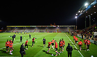 Lincoln City players during the pre-match warm-up<br /> <br /> Photographer Chris Vaughan/CameraSport<br /> <br /> The EFL Checkatrade Trophy Northern Group H - Lincoln City v Wolverhampton Wanderers U21 - Tuesday 6th November 2018 - Sincil Bank - Lincoln<br />  <br /> World Copyright © 2018 CameraSport. All rights reserved. 43 Linden Ave. Countesthorpe. Leicester. England. LE8 5PG - Tel: +44 (0) 116 277 4147 - admin@camerasport.com - www.camerasport.com