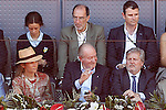 Infanta Elena of Spain, King Juan Carlos I of Spain and the Minister of Culture and Sports of Spain Inigo Méndez de Vigo during Madrid Open Tennis 2016 match.May, 3, 2016.(ALTERPHOTOS/Acero)