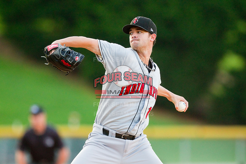 Indianapolis Indians starting pitcher Kris Johnson (17) in action against the Charlotte Knights at Knights Stadium on July 22, 2012 in Fort Mill, South Carolina.  The Indians defeated the Knights 17-1.  (Brian Westerholt/Four Seam Images)