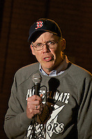 Climate activist Bill McKibben founder of 350.org at Harvard Heat Week calling on Harvard University to divest it's 36 billion dollar endowment from Fossil Fuels outside blockaded Massachusetts Hall on Harvard Campus Cambridge MA 4.12.15