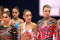 (L-R) Simona Peycheva of Bulgaria, Evgenia Kanaeva and Olga Kapranova of Russia lineup during closing ceremony at 2006 Mie World Cup Finale of rhythmic gymnastics on November18, 2006.<br />