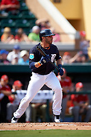 Detroit Tigers shortstop Mike Aviles (14) squares to bunt during an exhibition game against the Florida Southern Moccasins on February 29, 2016 at Joker Marchant Stadium in Lakeland, Florida.  Detroit defeated Florida Southern 7-2.  (Mike Janes/Four Seam Images)