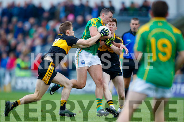 Gavin White Dr Crokes in action against Paul O'Donoghue South Kerry in the Senior County Football Final in Austin Stack Park on Sunday