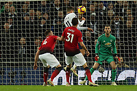 Erik Lamela of Tottenham Hotspur goes close with a header during Tottenham Hotspur vs Manchester United, Premier League Football at Wembley Stadium on 13th January 2019