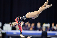 Nebraska's Grace Williams competes on the balance beam during the semifinals of the NCAA women's gymnastics championships, Friday, April 17, 2015 in Fort Worth, Tex.(Mo Khursheed/TFV Media via AP Images)
