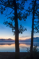 Dawn along the shores of Naknek lake, Kejulik mountains in the distance, Katmai National Park, Alaska.