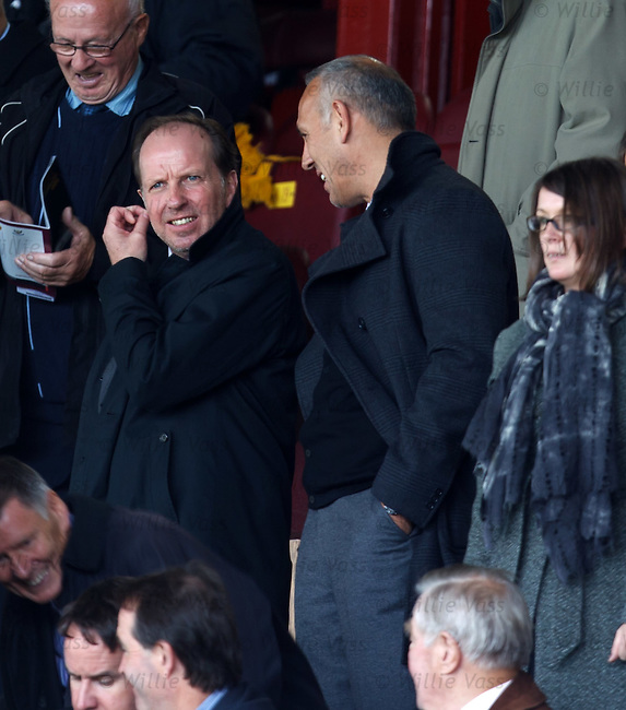 Trevor Steven and Mark Hateley in the stand laughing after his near death experience midwell in the Bothwell river