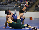 Manogue's Willy McDonald and Carson's Brady O'Keefe compete at the Sierra Nevada Classic wrestling tournament in Reno, Nev., on Friday, Dec. 28, 2012. .Photo by Cathleen Allison
