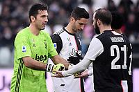 Gianluigi Buffon and Gonzalo Higuain of Juventus <br /> Torino 1-12-2019 Juventus Stadium <br /> Football Serie A 2019/2020 <br /> Juventus FC - US Sassuolo 2-2 <br /> Photo Federico Tardito / Insidefoto