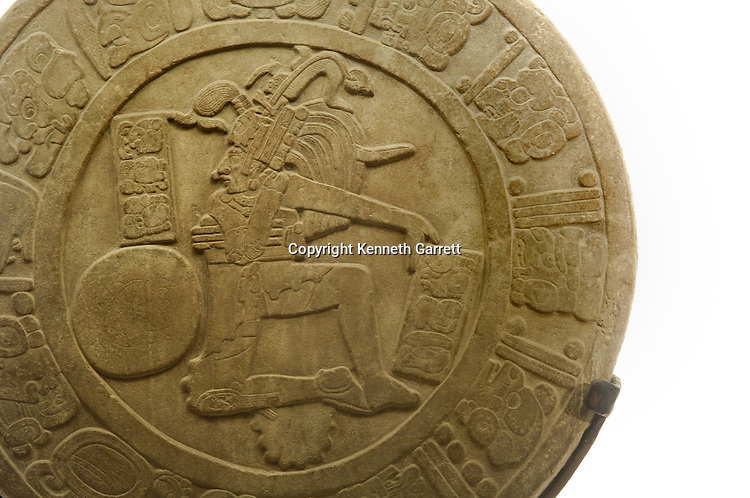 Maya Rise and Fall, Mexico City, National Museum of Anthropology and History, INAH, Disk, ball court marker, Limestone, Late Classic period, La Esperanza, Chinkultic, Chiapas, Mexico
