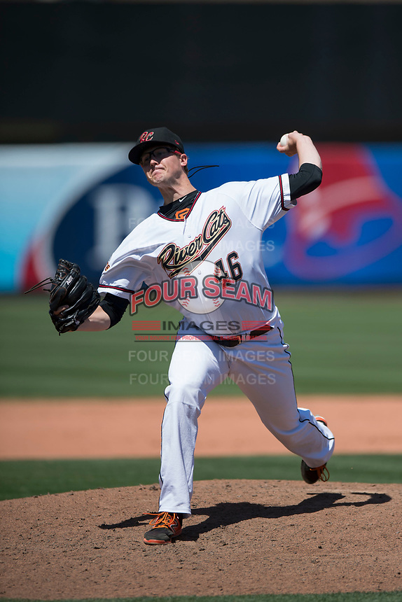 Sacramento RiverCats relief pitcher DJ Snelten (46) delivers a pitch to the plate during a Pacific Coast League against the Tacoma Rainiers at Raley Field on May 15, 2018 in Sacramento, California. Tacoma defeated Sacramento 8-5. (Zachary Lucy/Four Seam Images)