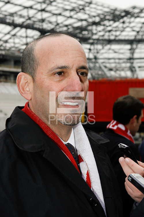 MLS Commissioner Don Garber is interviewed after the topping off ceremony at Red Bull Arena in Harrison, NJ, on April 14, 2009.
