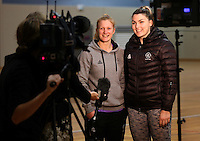 14.07.2014 Shannon Francois and Ellen Halpenny at the Silver Ferns train in Auckland ahead of them leaving for the Commonwealth Games. Mandatory Photo Credit ©Michael Bradley.