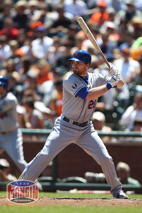 SAN FRANCISCO, CA - AUGUST 2:  Daniel Murphy #28 of the New York Mets bats against the San Francisco Giants during the game at AT&T Park on Thursday, August 2, 2012 in San Francisco, California. Photo by Brad Mangin