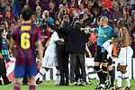 Football - FC Barcelona v Inter Milan UEFA Champions League Semi Final Second Leg - Camp Nou Stadium, Barcelona, Spain - 28/4/10 Inter Milan's coach Jose Mourinho celebrating after winning the match Xavi Hernandez and Victor Valdes of Barcelona looks on