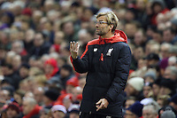 Liverpool Manager Jurgen Klopp gestures in frustration as he stands in the technical area during the Barclays Premier League Match between Liverpool and Swansea City played at Anfield, Liverpool on 29th November 2015