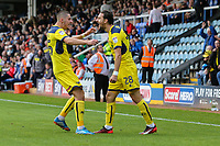 Agon Mehmeti of Oxford United (right) celebrates after he scores his team's fourth goal of the game to make the score 1-4 during the Sky Bet League 1 match between Peterborough and Oxford United at the ABAX Stadium, London Road, Peterborough, England on 30 September 2017. Photo by David Horn.