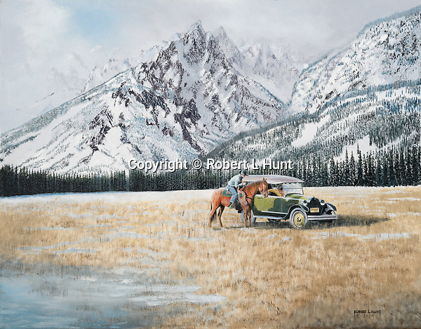 "A mounted cowboy rider meets with a REO car in the open range at the base of the Teton Mountains in 1920's Wyoming. Oil on canvas, 22"" x 28""."